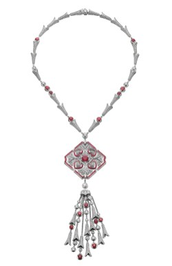 High Jewellery necklace in white gold (convertible in brooch) with 1 cushion shaped ruby (2.00 ct), round and cabochonne rubies (33 ct), round brilliant cut diamonds (6.66 ct) and pavé diamonds (19.64 ct).