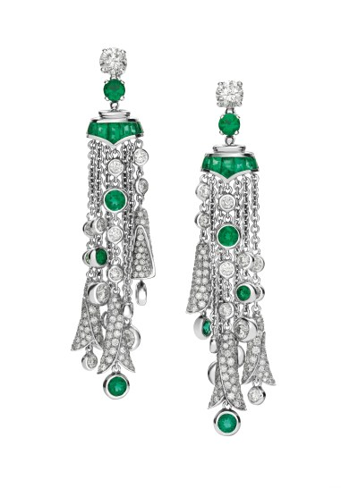 High Jewellery earrings in white gold with 2 round brilliant cut Diamonds (1.40 ct), 2 round shaped Emeralds (2.43 ct), buff-top cut Emeralds (1.92), round brilliant cut Diamonds and pavé Diamonds (6.87 ct).