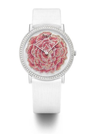 Micro-Pointillism Embroidery. Piaget Altiplano 38mm watch in 18K white gold featuring a bezel set with 78 brilliant-cut diamonds (approx. 0.7 ct). Dial with Yves Piaget rose motif embroidered on white silk with coloured silk threads using the micro-pointillism technique and silver thread for the rim of the petals. 18-piece limited edition.