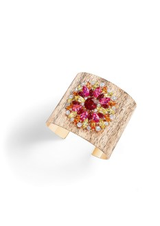 Cuff bracelet in 18K pink gold set with 1 cushion-cut ruby (approx. 5.01 cts), 8 marquise-cut rubies (approx. 3.38 cts), 6 marquise-cut pink spinels (approx. 7.20 cts), 8 marquise-cut mandarin garnets (approx. 4.08 cts), 10 marquise-cut yellow beryls (spprox. 4.66 cts) and 20 brilliant-cut diamonds (2.37 cts).