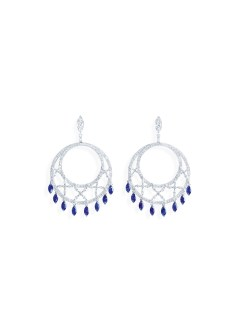 Earrings in 18K white gold set with 40 marquise-cut blue sapphires (approx. 4.50 cts), 16 marquise-cut blue diamonds (approx. 8.78 cts) and 154 brilliant-cut diamonds (approx. 5.59 cts).