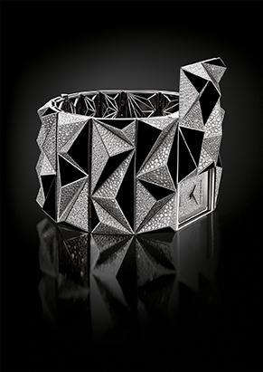 A dramatic shot of the Diamond Punk watch accentuating its geometric volumes.