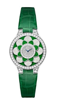 Graff Icon watch: diamonds, emeralds and green croco watch.