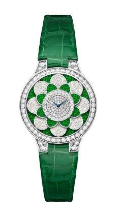 Graff Icon watch: diamonds, emeralds and green croco watch.