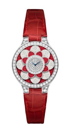 Graff Icon Watch: diamonds, rubies and red croco strap.