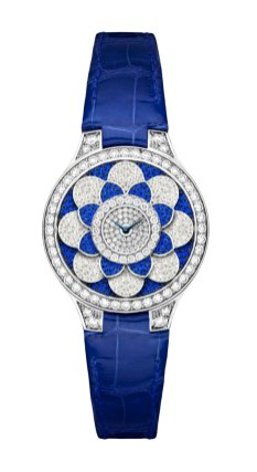 Graff Icon Watch: diamonds, sapphires and blue croco strap.