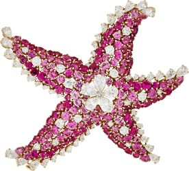 Etoile de Mer Clip. Pink gold, round and pear-shaped diamonds, pink sapphires