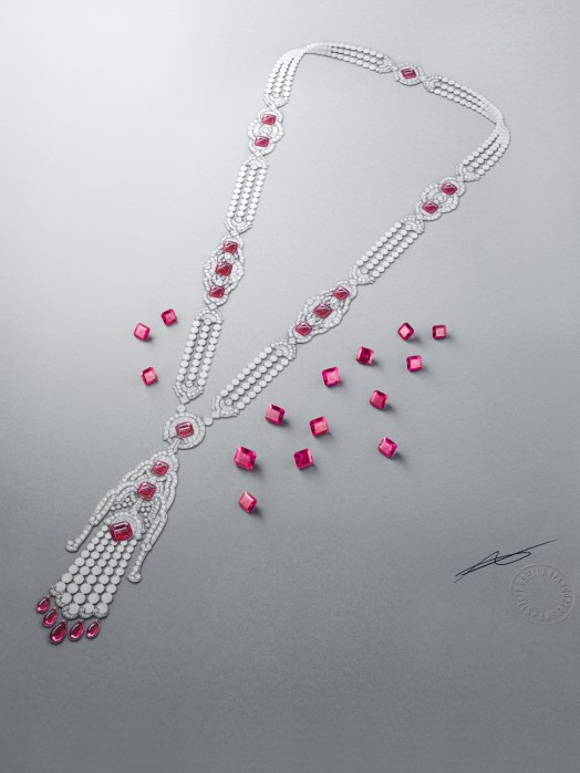 Long Necklace Kizil. White gold, pink gold, round, square-cut, baguette-cut and pear-shaped diamonds, white cultured pearls, white mother-of-pearl, rubellite drops, 15 square-cut rubellites for a total of 45.09 carats. This long necklace is transformable.