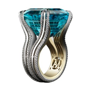 A very fine 27.24 carat Asscher-cut Intense bright blue-green Aquamarine ring set with Alexandra Mor's signature details of double bands of 1mm knife- edged wire and 1.05 carats of 1mm 'floating' Diamond melee. Platinum set on a 1mm 18-karat yellow gold band with AM logo gallery. Signed by artist. Crafted in the USA. Made-To-Order.