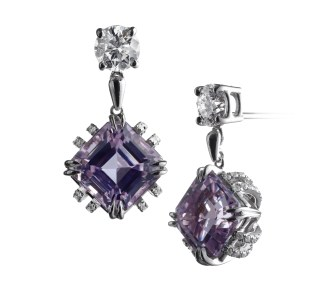 A pair of Asscher-cut Kunzite earrings weighing 4.70 carats, each suspended from a 0.42 carat round Diamond with Alexandra Mor's signature details of 'floating' Diamond melee and knife-edged wire set around 18-karat yellow gold gallery. 1.67 carats total Diamond weight. Signed by artist. Crafted in the USA.