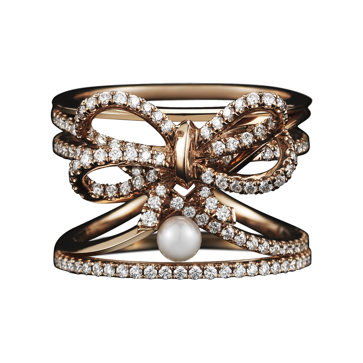 A contemporary Diamond Bow and Pearl ring set with Alexandra Mor signature details of 1mm knife-edged wire and 1mm 'floating' Diamond melee weighing a total of 0.91 carats. 18-karat Rose Gold. Signed by artist. Crafted in the USA. Limited Edition 1/15
