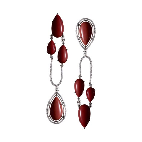 Coral & Diamond Chanderlier Earrings