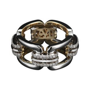A flexible chain-link ring, comprised of four rectangular gold links, connected by Alexandra Mor's signature details of knife-edged wire in 18-karat white gold and 'floating' Diamond melee. 18-karat white gold set on 18-karat yellow gold with AM logo gallery detail. 0.37 total carat weight. Signed by artist. Crafted in the USA. Limited-Edition 1/25