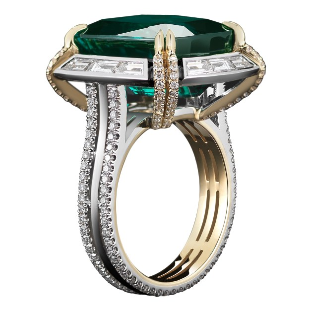 A 14.82 carat Cushion- cut vivid green-blue Tourmaline ring, set with Alexandra Mor's signature details of 'floating' diamond melee and knife- edged wire surrounded by 12 Step- Cut baguette diamonds. Platinum set on 1mm 18-karat yellow gold band with Alexandra Mor logo gallery. 2.38 carat total Diamond weight. Signed by artist. Crafted in the USA. One-of-a-Kind 1/1.