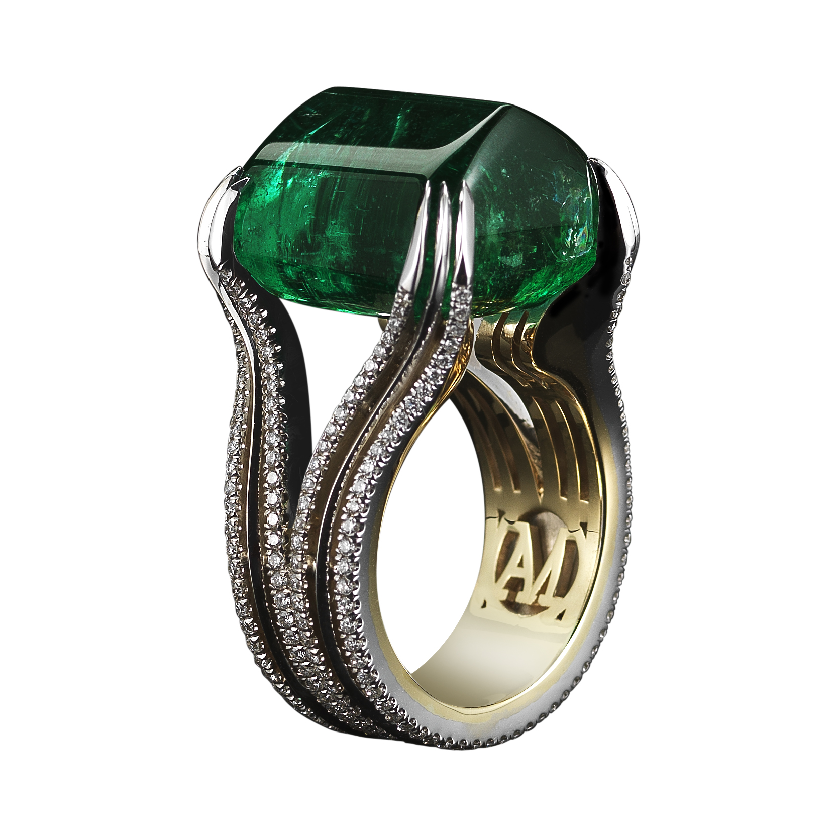 A 26.16 carat Sugarloaf-cabochon Emerald ring set with Alexandra Mor's signature details of double bands of 1mm knife-edged wire and 0.84 carats of 1mm 'floating' Diamond melee. 18-karat white gold set on a 1mm 18-karat yellow gold band with AM logo gallery. Created with a Gemfields gem, where all Emeralds are ethically sourced from mine to market. Signed by artist. Crafted in the USA. One-of-a-Kind 1/1