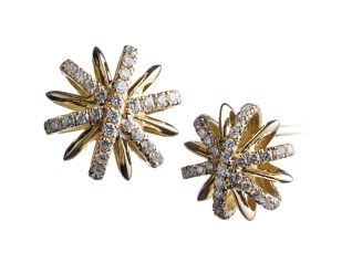 A pair of 10mm snowflake stud earrings with Alexandra Mor's signature details of 1mm melee bands and knife-edged wire. 18-karat yellow gold set around 18-karat yellow gold gallery. Signed by artist. Crafted in the USA. Limited-Edition 1/25
