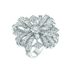 """Attirante"" ring in 18K white gold set with a 1-carat brilliant-cut diamond, 4 pear-cut diamonds for a total weight of 1 carat, 12 baguette-cut diamonds for a total weight of 1.2 carat, 12 square-cut diamonds for a total weight of 1.1 carat and 285 brilliant-cut diamonds for a total weight of 2.9 carats. CHANEL Joaillerie"