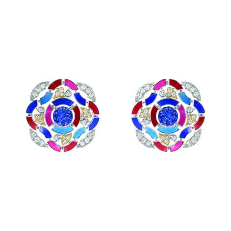 """""""Hypnotique"""" earrings in 18K white and yellow gold set with 2 brilliant-cut blue violet tanzanites for a total weight of 3.7 carats, 56 brilliant-cut diamonds for a total weight of 1.2 carat and multicolored lacquer. CHANEL Joaillerie"""