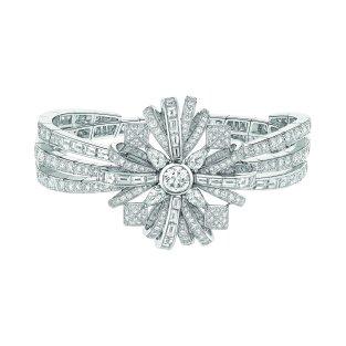 """Attirante"" bracelet in 18K white gold set with a 1-carat brilliant-cut diamond, 4 pear-cut diamonds for a total weight of 1 carat, 12 square-cut diamonds for a total weight of 1.3 carat, 24 baguette-cut diamonds for a total weight of 3.1 carats and 347 brilliant-cut diamonds for a total weight of 8.4 carats. CHANEL Joaillerie"
