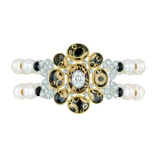 """""""Mystérieuse"""" bracelet in 18K white and yellow gold set with diamonds, cultured pearls, rock crystal cabochons and black lacquer. CHANEL Joaillerie"""