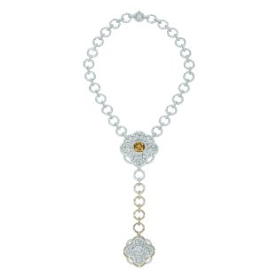 """""""Particulière"""" necklace in 18K white gold set with an 11.6-carat brilliant-cut fancy dark yellow brown diamond, a 2.2-carat brilliant-cut diamond, 83 brilliant-cut brown diamonds for a total weight of 2 carats and 1129 brilliantcut diamonds for a total weight of 23.7 carats. CHANEL Joaillerie"""