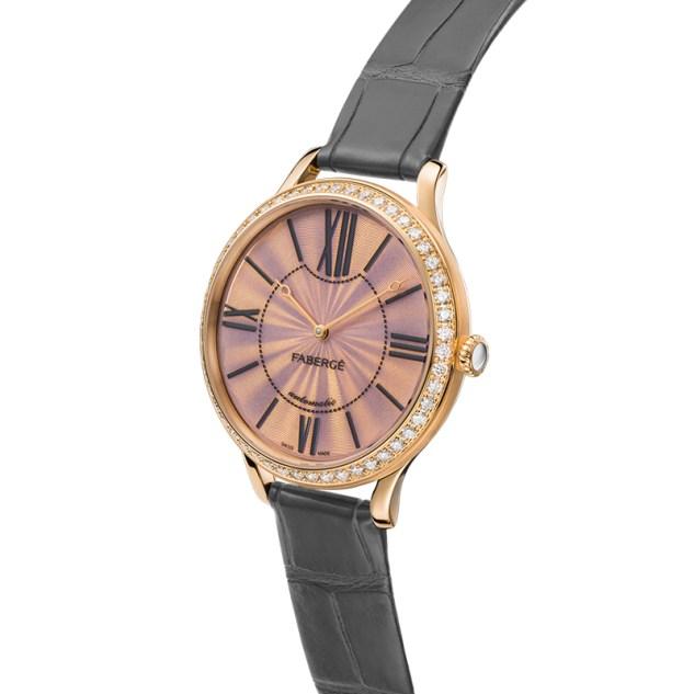 Fabergé Lady Fabergé 39mm 18ct Rose Gold Watch - Enamel Pink Dial