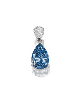 Set with a fancy deep blue pear-shaped diamond weighing 3.11 carats, surmounted by a pear-shaped diamond, on a fine chain, mounted in platinum.