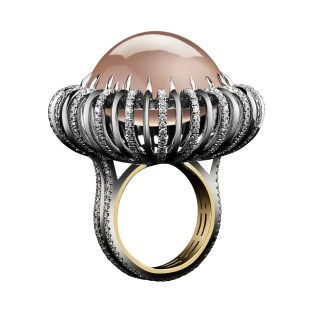 Alexandra Mor Rose Quartz Cabochon and Diamonds Knife Edge Ring