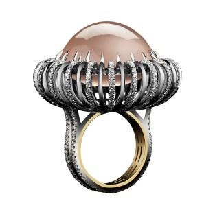 Alexandra Mor Rose Quartz Cabochon and Diamonds Knife Edge Ring