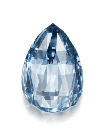 The fancy deep blue briolette diamond weighing 10.48 carats.