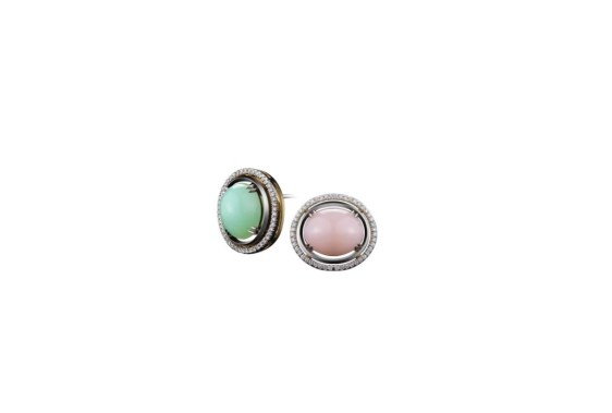Oval Shape Green and Pink Opal Cabochon Earrings with Diamond Jackets