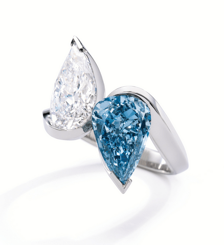 The magnificent pear-shaped Fancy Vivid Blue, Internally Flawless diamond weighing 5.35 caratsmatched witha pear-shaped D color,Internally Flawless diamond of 5.42 carats.