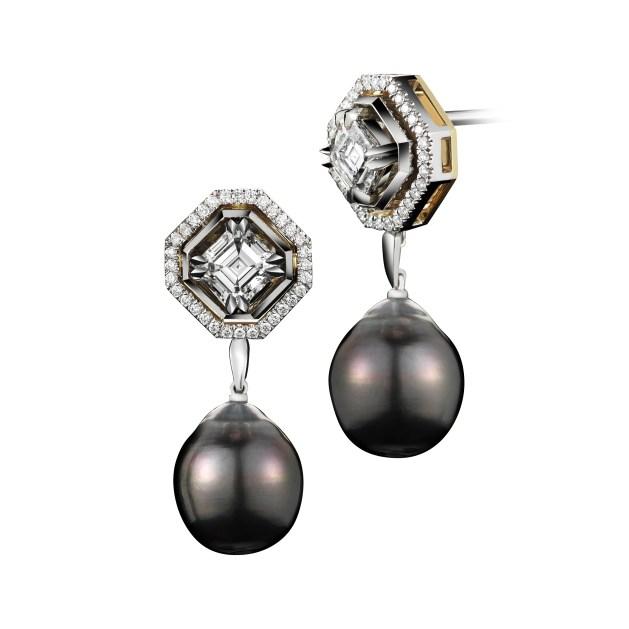 Vows by Alexandra Mor Asscher-Cut Diamond and Pearl Dangling Earrings