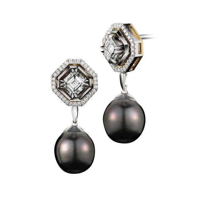Asscher-Cut Diamond and Pearl Dangling Earrings