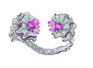 Fronce Saphir Rose Bracelet. 750/1000 white gold, diamonds, pink sapphires and rubies.