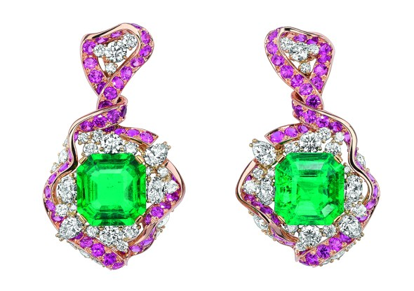 Galon Emeraude Earrings. 750/1000 pink and yellow gold, diamonds, emeralds and pink sapphires.