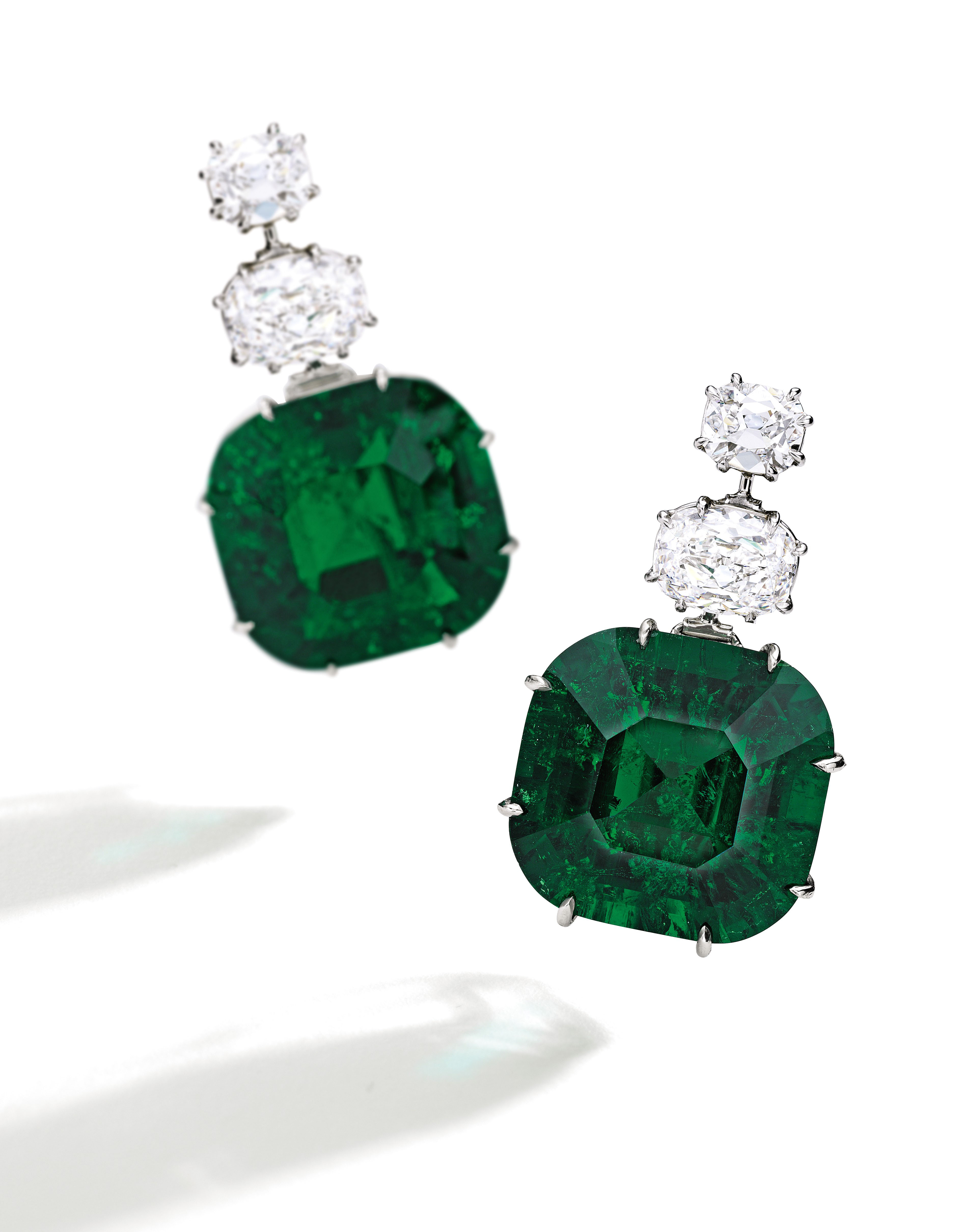 Highly Important Pair of Emerald and Diamond Earrings (estimate $1.8/2.2 million) are set with Classic Colombian emeralds. Known as The Stars of Muzo, the impressive emeralds weighing 22.97 and 21.37 carats are accompanied by two gemological reports stating the stones are unenhanced. These exceptionally rare emeralds are accented by more than 5 carats of D color, Internally Flawless diamonds.