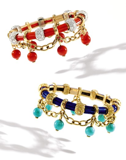 Two 'Drape' Bracelets by Schlumberger, one lapis lazuli, turquoise and colored diamond, the other coral and diamond, (estimates $20/30,000 each) formerly from the collection of Mrs. Paul Mellon. Mrs. Mellon was known to be a patron of Jean Schlumberger's jewels and much of her Schlumberger jewelry collection was bequeathed to The Virginia Museum of Fine Arts last year.