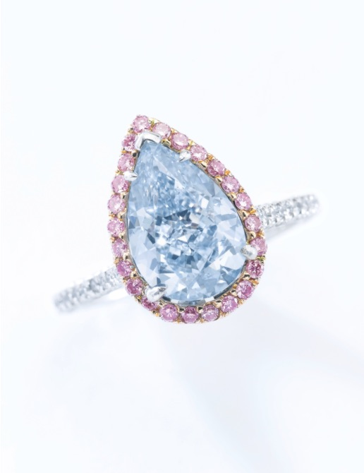 Attractive fancy intense blue diamond ring. Estimate: $1,166,010 - 1,744,033.