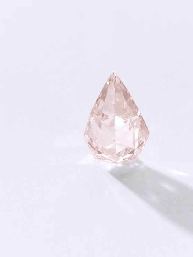 A Fancy Orangy Pink diamond pendant. The selection of coloured diamonds to be presented in November also includes a sublime fancy orangy-pink diamond pendant, which comes directly from the celebrated actor Sir Sean Connery. The briolette-shaped stone weighs 15.20 carats and boasts VS2 Clarity. Estimate $1,200,000-2,400,000.