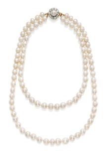 Jewels of Provenance: two-strand natural pearl necklace. A gift from King Umberto I of Italy to his wife Queen Margherita, and later worn by Queen Elena of Italy. Estimate US$489,900 - $683,819.