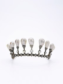 Natural pearl and diamond tiara, second half of the 19th century. Having belonged to Viscountess de Courval, born Mary Ray (1835-1901), this exquisite tiara from the second half of the 19th century is adorned with diamonds, which in turn are surmounted with eleven slightly baroque drop shaped natural pearls. Estimate: $2,000,000-4,000,000.
