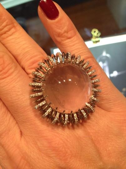 Alexandra Mor's Star Rose Quartz Cabochon Diamond Ring, featuring a rare one of a kind 51.03 carat round start rose quartz cabochon. Photo credits (c) Jewellerytroughtime.com