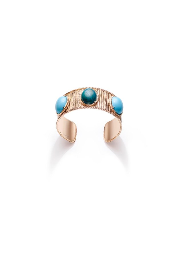 """Extremely Piaget """"Décor Torsade"""" Bracelet, in 18k pink gold with two turquoises (circa 23,2 carats) and one chrysocolla (circa 12,5 carats)"""