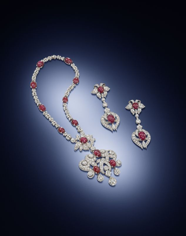 art-moderne-ruby-and-diamond-necklace-and-pair-of-pendant-earrings