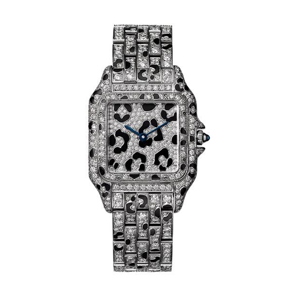 Orologio Panthère de Cartier, modello medio, oro bianco e diamanti taglio brillante, con applicazioni in smalto nero