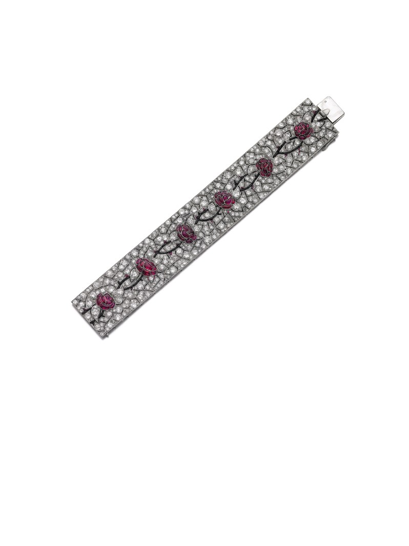 Lot 374- Ruby, onyx and diamond bracelet, Lacloche- Sotheby's Geneva 16 May 2017 II