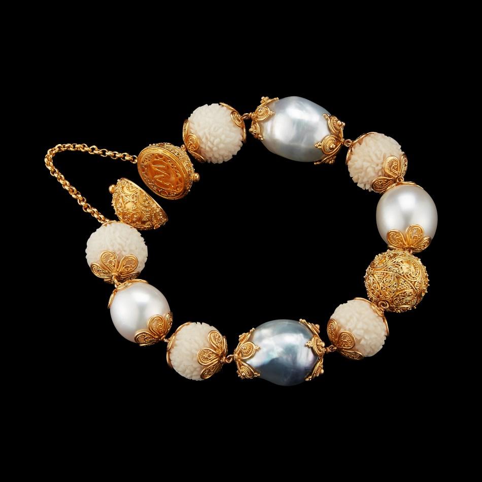 Alexandra Mor Tagua Seed, baroque perals and 22 Karat Gold beads mala bracelet