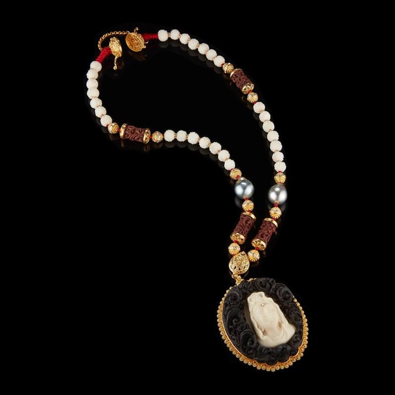Alexandra Mor Tagua Seed Bodhisattva of compassion Pendant necklace