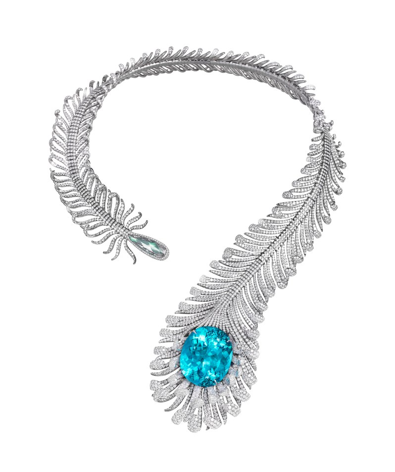 Moussaieff - Feather with Diamonds and Paraiba Tourmaline